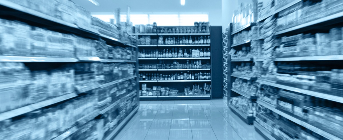 Grocery store aisle with blue color overlay